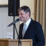 Bild von Universitätspräsident Prof. Dr. Joachim Hornegger bei Morten Kjaerums Vortrag
