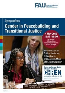 Plakat für das Symposium zu Gender in Peacebuilding and Transitional Justice